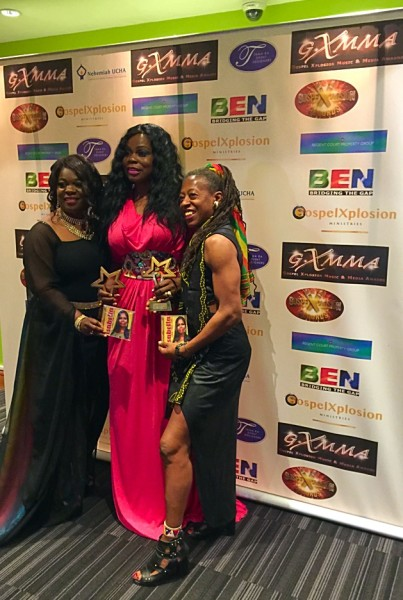 Isabella with other celebrities, Annette B (founder of GXMMA) and Judith Jacobs (Actress and On Air Personality)