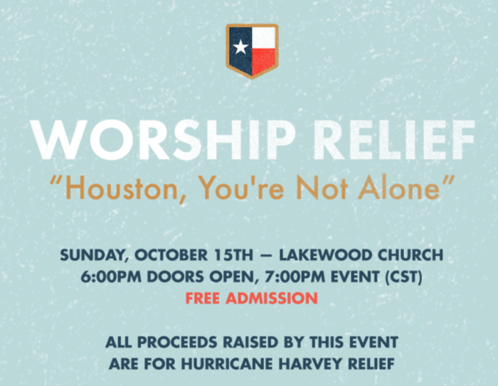 WORSHIP RELIEF Houston You're Not Alone