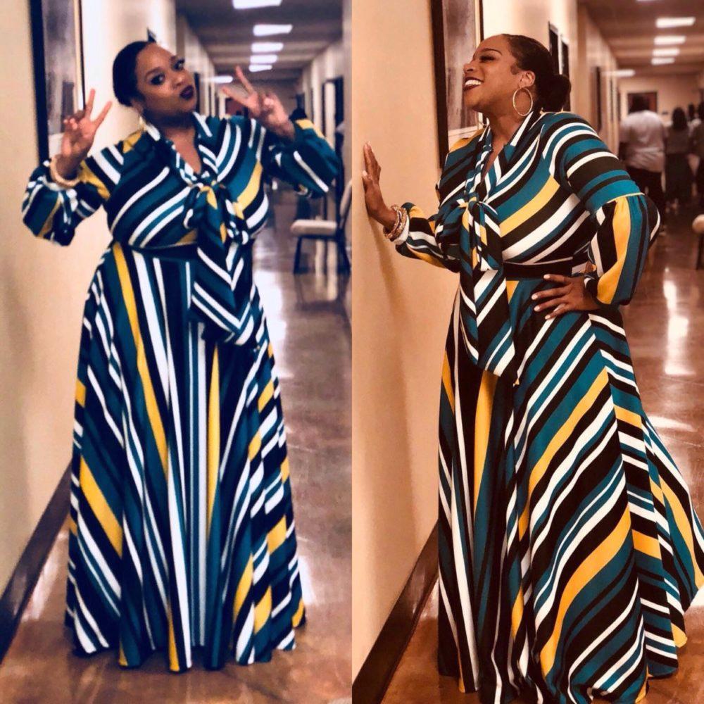 Kierra Sheard Multi Stripe Dress