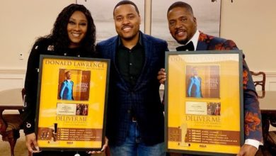 Photo of Donald Lawrence & Le' Andria Johnson Bag Recognition for Billboard Most Played Song (2019)